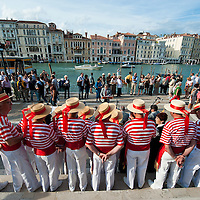 """VENICE, ITALY - SEPTEMBER 02:  Members of the """"Coro della Serenissima"""" sing before the blessing of the Gondolini in front of Santa Maria della Salute church ahead of Sunday Historic Regata on September 2, 2010 in Venice, Italy. The Historic Regata is the most exciting boat race on the Gran Canal for the locals and one of the most spectacular ***Agreed Fee's Apply To All Image Use***.Marco Secchi /Xianpix. tel +44 (0) 207 1939846. e-mail ms@msecchi.com .www.marcosecchi.com"""