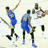 07 June 2017: Cleveland Cavaliers forward LeBron James (23) is seen with Golden State Warriors forward Kevin Durant (35), Golden State Warriors guard Stephen Curry (30) and Cleveland Cavaliers guard JR Smith (5) during the Golden State Warriors 118-113 victory over the Cleveland Cavaliers, in game 3 of the 2017 NBA Finals, at  the Quicken Loans Arena, Cleveland, Ohio, USA.