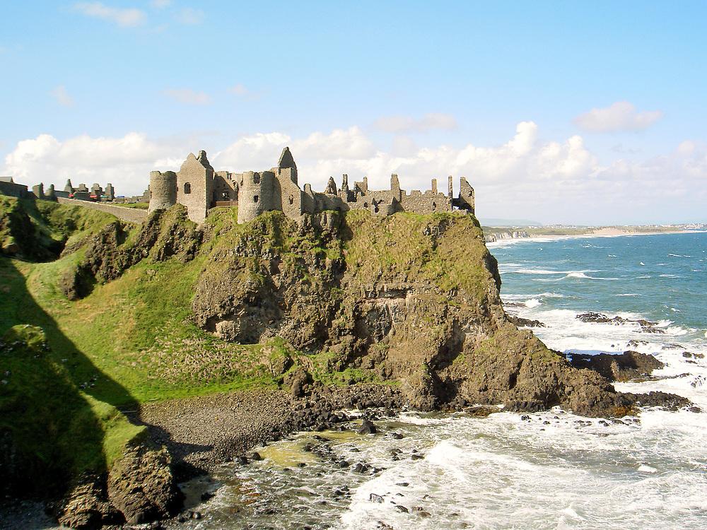 Dunluce Castle, mediaeval ruin between Portrush and Bushmills on North Antrim Coast Road, County Antrim, Northern Ireland.