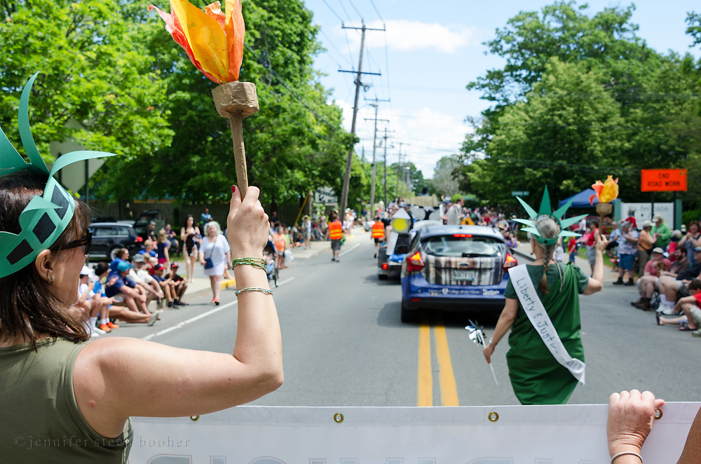 Bar Harbor, Maine. Members of Indivisible MDI march in the Independence Day Parade, July 4, 2017.