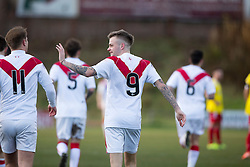 Airdrie's Andrew Ryan cele scoring their first goal. Half time : Albion Rover 0 v 2 Airdrie, Scottish League 1 game played 5/11/2016 at Cliftonhill.