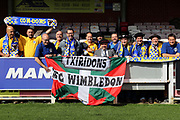 AFC Wimbledon fans showing banner during the EFL Sky Bet League 1 match between AFC Wimbledon and Rochdale at the Cherry Red Records Stadium, Kingston, England on 30 September 2017. Photo by Matthew Redman.