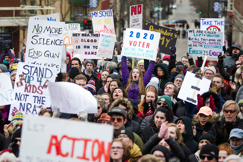 Thousands of demonstrators gather around the Wisconsin State Capitol during the March for our Lives protest in Madison, Wisconsin, Saturday, March 24, 2018.