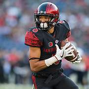 03 September 2016: The San Diego State Aztecs football team open's up the season at home against the University of New Hampshire Wildcats.  San Diego State wide receiver Mikah Holder (6) makes a reception in the first quarter against New Hampshire. The Aztecs lead 21-0 at halftime. www.sdsuaztecphotos.com