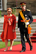 Religious wedding of Grand Duke Guillaume and Princess Stephanie at the Cathedral Notre-Dame in Luxembourg <br /> <br /> On the photo:  Grand Duke Henri and Grand Duchess Maria Teresa of Luxembourg