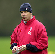 12/02/2004 Six Nations Rugby England Training- Pennyhill Park- Bagshot.England coach, Sir Clive Woodward watch's, as the squard go through the morning training session.   [Mandatory Credit, Peter Spurier/ Intersport Images].