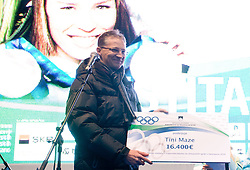 Igor Luksic at reception of Slovenian 2-times silver medalist alpine skier Tina Maze at Preseren's square when she came from Vancouver after Winter Olympic games 2010, on February 28, 2010 in Center of Ljubljana, Slovenia. (Photo by Vid Ponikvar / Sportida)