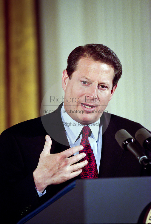 Vice President Al Gore during an event in the East Room of the White House January 13, 1999 where he made an announcement on support for the disabled.