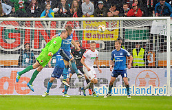 14.05.2016, WWK Arena, Augsburg, GER, 1. FBL, FC Augsburg vs Hamburger SV, 34. Runde, im Bild Alex Manninger #1 (FC Augsburg) beim Kopfball im gegnerischen Strafraum // during the German Bundesliga 34th round match between FC Augsburg and Hamburger SV at the WWK Arena in Augsburg, Germany on 2016/05/14. EXPA Pictures © 2016, PhotoCredit: EXPA/ Eibner-Pressefoto/ Hierm<br /> <br /> *****ATTENTION - OUT of GER*****