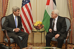 September 19, 2016 - New York, NY, United States of America - U.S Secretary of State John Kerry meets with Palestinian Authority President Mahmoud Abbas September 19, 2016 in New York City. Both men are in New York for the United Nations General Assembly meeting. (Credit Image: © State Department/Planet Pix via ZUMA Wire)