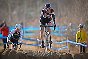 SHOT 1/12/14 3:55:07 PM - Ryan Trebon (#4) of Bend, Orr. chases  Jeremy Powers (#3) of Easthampton, Ma. as the two compete in the Men's Elite race at the 2014 USA Cycling Cyclo-Cross National Championships at Valmont Bike Park in Boulder, Co. Powers won the event with a time of 59:16 and Trebon finished second with a time of 59:59.  (Photo by Marc Piscotty / © 2014)