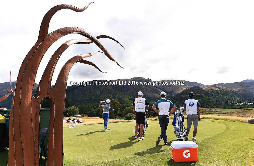 Hideto Tanihara tees off on the 3rd during round 4 at The Hills during 2016 BMW ISPS Handa New Zealand Open. Sunday 13 March 2016. Arrowtown, New Zealand. Copyright photo: Andrew Cornaga / www.photosport.nz