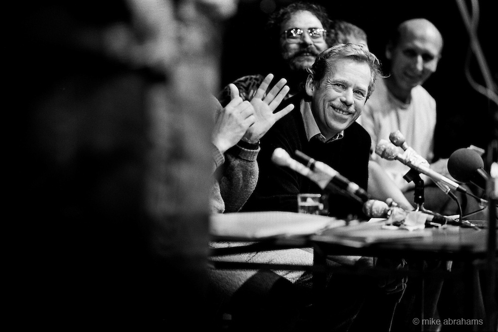 Vaclav Havel addressing the media at The Magic Lantern Theatre, during the revolution bringing an end to communism in Czechoslovakia. Ovember 1989