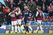 Burnley forward Chris Wood (9) celebrates his goal 2-0  during the Premier League match between Burnley and West Ham United at Turf Moor, Burnley, England on 9 November 2019.