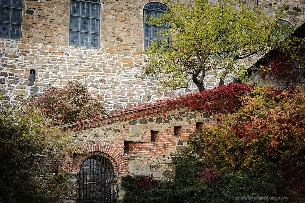Oslo, Norway, October 2012: Trees and Autumn colour in the grounds of the oslo Fortress