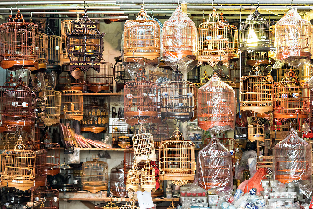 Shops specializing in decorative bamboo cages and supplies for songbirds at the Yuen Po Street Bird Garden in Mong Kok, Kowloon, Hong Kong.