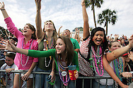 2007 Gasparilla Parade in Tampa, Florida, from the inside with the all female Krewe of Charlotte de Berry.  More than a quarter of a million people turned out for the parade.