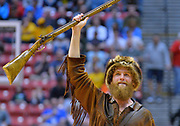 SAN DIEGO, CA - MARCH 16:  The West Virginia Mountaineers mascot performs during a first round game of the Men's NCAA Basketball Tournament against the Murray State Racers at Viejas Arena in San Diego, California. West Virginia won 85-68.  (Photo by Sam Wasson)