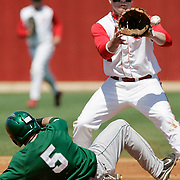 (OSUBB13 carrizo 04/12/09) OSU' Tyler Engle, 1, gets Michigan State's Johnny Lee, 5, out as he attempts to reach second base in a double play started by Michigan's Jeff Holmen, 27, grounded ball (no in photo) during the second inning of a NCAA Men's baseball game at OSU on Sunday, April 12, 2009 in Columbus, Ohio. OSU won 6-1.(Columbus Dispatch Photo by Leonardo Carrizo)