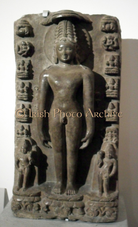 (The Rishabha) thirtankara Rsabhanatha.11th - 12th century limestone sculpture.  Orissa in India. According to Jain beliefs, Rishabha was the first Tirthankar of the present age (Avasarpini). Because of this, he had the name of Adinath the original lord. He became a Siddha, a liberated soul which has destroyed all of its karma