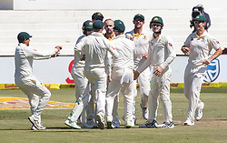 Durban. 020318. Nathan Lyon of Australia takes the catch for the wicket of Dean Elgar of the Proteas during day 2 of the 1st Sunfoil Test match between South Africa and Australia at Sahara Stadium Kingsmead on March 02, 2018 in Durban, South Africa. Picture Leon Lestrade/African News Agency/ANA