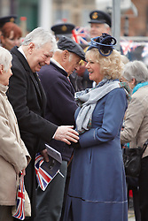 © Licensed to London News Pictures.  02/05/2012. THAME, UK. Troops from RAF Halton take part in the inaugural freedom parade through the centre of Thame, Oxfordshire. HRH Camilla The Duchess of Cornwall (pictured) presented a scroll granting the RAF base the freedom of Thame.  A sizeable crowd, including local school children, turned out to watch the parade. RAF Halton's mascot, George the goat, also took part. Photo credit :  Cliff Hide/LNP