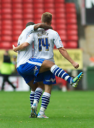 LONDON, ENGLAND - Saturday, October 8, 2011: Tranmere Rovers' Adam McGurk celebrates after his goal makes it 1-0 against Charlton Athletic during the Football League One match at The Valley. (Pic by Gareth Davies/Propaganda)