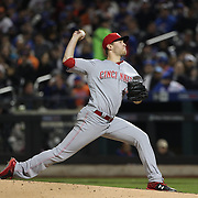 NEW YORK, NEW YORK - APRIL 27:  Pitcher Jon Moscot #46 of the Cincinnati Reds pitching during the New York Mets Vs Cincinnati Reds MLB regular season game at Citi Field on April 27, 2016 in New York City. (Photo by Tim Clayton/Corbis via Getty Images)