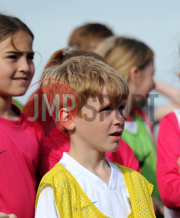 Participants in the Vixens Experience ask questions of the Bristol Academy players - Photo mandatory by-line: Paul Knight/JMP - Mobile: 07966 386802 - 09/05/2015 - SPORT - Football - Bristol - Stoke Gifford Stadium - Bristol Academy Women v Arsenal Ladies FC - FA Women's Super League