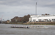 23 March 2019. <br /> <br /> Oxford University Lightweight Rowing Club (dark blue) races Cambridge University Lightweight Rowing Club.