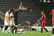 Grimsby Town defender Paul Dixon (3) shown a red card, sent off during the EFL Sky Bet League 2 match between Milton Keynes Dons and Grimsby Town FC at stadium:mk, Milton Keynes, England on 21 August 2018.