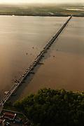 The Harbour Bridge crossing Damerara River.<br /> World's largest pontoon bridge<br /> Georgetown - Capital of Guyana<br /> Georgetown built below sea level<br /> GUYANA<br /> South America