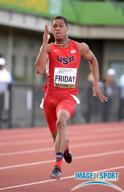 Jul 24, 2014; Eugene, OR, USA; Trentavis Friday (USA) wins 200m semifinal in 20.35 in the 2014 IAAF World Junior Championships at Hayward Field.