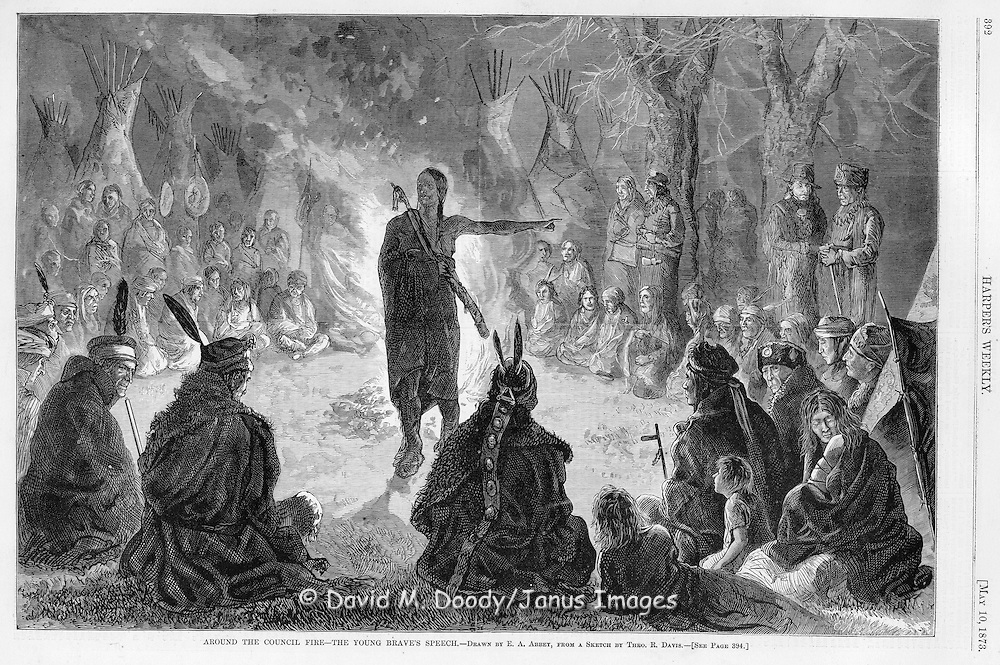 American Indians at a council fire, the young brave's speech.  Illustration from Harper's Weekly May 10 1873