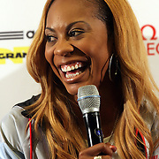 Sanya Richards-Ross, USA, talking with the media at the Adidas Grand Prix Press Conference, Hyatt Grand Central, New York ahead of he Adidas Grand Prix at Icahn Stadium, Randall's Island. Manhattan, New York. 23rd May 2012. Photo Tim Clayton