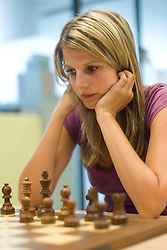 Ksenija Novak in action during the Slovenian National Chess Championships in Ljubljana on August 9, 2010.  (Photo by Vid Ponikvar / Sportida)