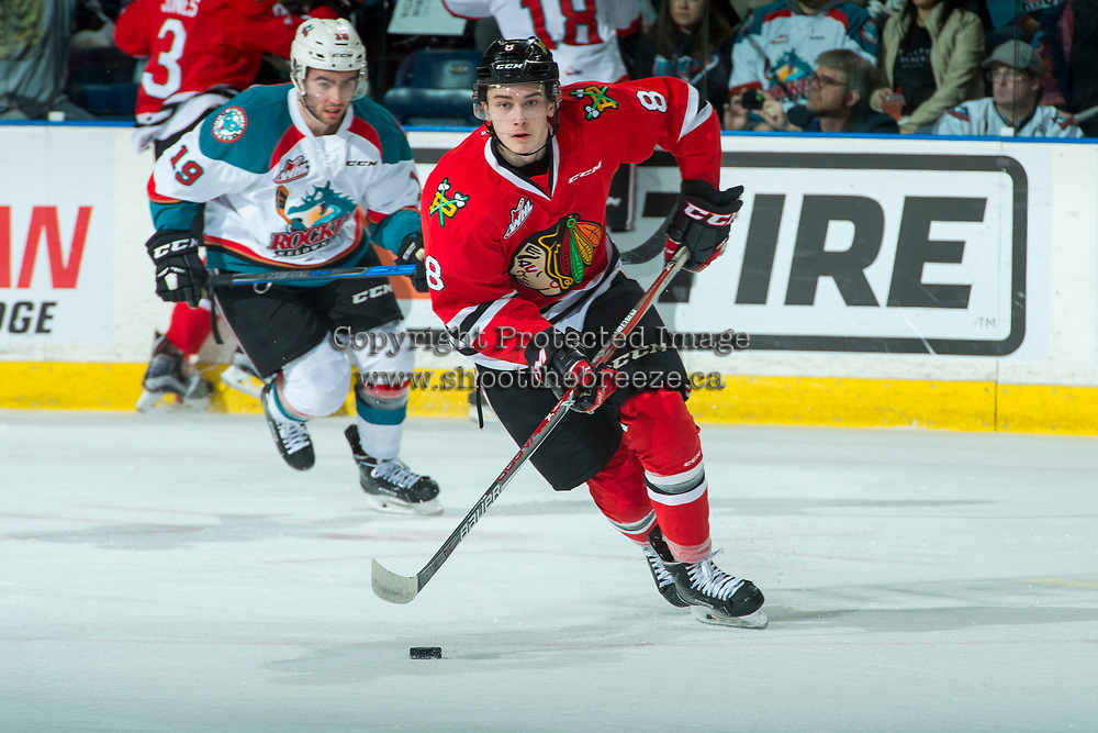 KELOWNA, CANADA - APRIL 7:  Cody Glass #8 of the Portland Winterhawks skates with the puck during first period against the Kelowna Rockets on April 7, 2017 at Prospera Place in Kelowna, British Columbia, Canada.  (Photo by Marissa Baecker/Shoot the Breeze)  *** Local Caption ***