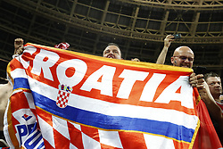 MOSCOW, July 11, 2018  Fans of Croatia celebrate victory after the 2018 FIFA World Cup semi-final match between England and Croatia in Moscow, Russia, July 11, 2018. Croatia won 2-1 and advanced to the final. (Credit Image: © Cao Can/Xinhua via ZUMA Wire)