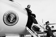 President Jimmy Carter at the doorway of Air Force One after landing. The smaller jet from the executive fleet is used to land at smaller airports. Any airplane carrying the president uses the callsign of Air Force One.