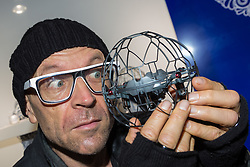 Gadget Show presenter Jason Bradbury with Spin Master Toys' Air Hogs Supernova that retails at £39.99. Ahead of Christmas the Dream Toys exhibition at St Mary's Church in Marylebone, London showcases the hottest toys in the market including the top twelve. London, November 14 2018.