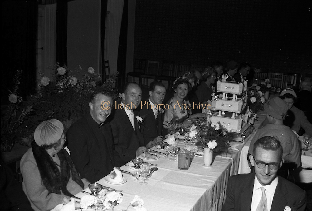 08/10/1959<br /> 10/08/1959<br /> 08 October 1959<br /> Wedding:Kenny - Colgan  (Muriel? and Tommy) at Church of St. Vincent de Paul, Griffith Avenue and the Grand Hotel, Malahide, Dublin. A picture of the top table at the dinner.