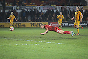 Adam Priestley of Alfreton Town scores his teams first goal, 1-1, during the The FA Cup match between Newport County and Alfreton Town at Rodney Parade, Newport, Wales on 15 November 2016. Photo by Andrew Lewis.