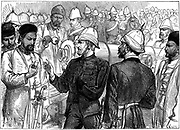 Second Anglo-Afghan War (1878-1880): Yakub (Yakoob) Khan, ruler of Afghanistan, being shown details of British guns during review at Gundamuck shortly after the signing of the Treaty of Gundamuck, 26 May 1879. Wood engraving, October 1879
