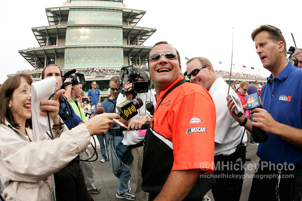 Crew chief Greg Zipadelli is all smiles after winning the Allstate 400 at the Brickyard Aug 7, 2005 in Indianapolis, IN.