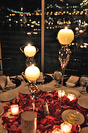 Wedding couple and decor.Waters Edge Restaurant.Long Island City, New York.