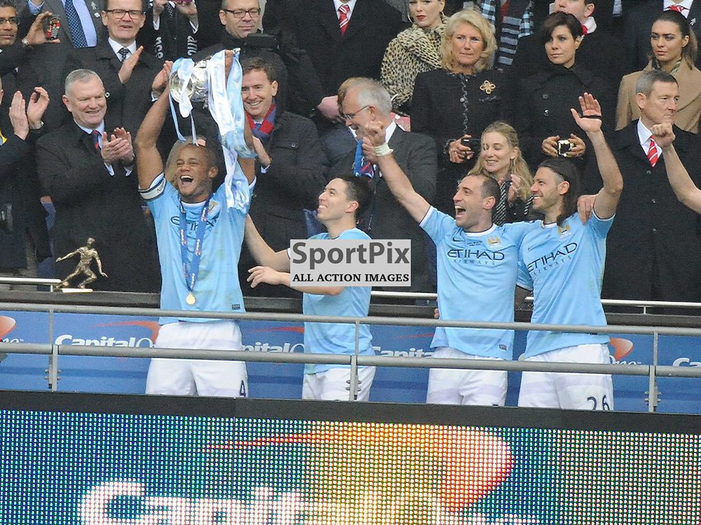 MANCHESTER CITY CELEBRATE WINNING THE CAPITAL ONE CUP AT WEMBLEY, Capital One Cup Final, Wembley, Manchester City v Sunderland, Sunday March 2nd 2014