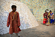 People visiting Rock Garden, near the administration buildings in Chandigarh