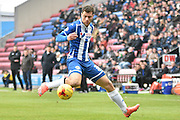 Wigan Athletic Forward, Yanic Wildschut keeps a close eye on the ball during the Sky Bet League 1 match between Wigan Athletic and Bury at the DW Stadium, Wigan, England on 27 February 2016. Photo by Mark Pollitt.