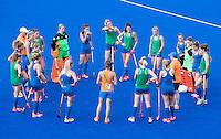 RIO DE JANEIRO (Brazilie) - De dames  van Oranje trainen vanmiddag in het Olympische hockeystadion . teambespreking.    COPYRIGHT KOEN SUYK