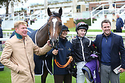 BLYTON with Trainer Tom Dascombe, Jockey Richard Kingscote and Owner Michael Owen after winning The TSG Keeping IT Real Handicap Stakes over 5f (£15,000) during the Countryside Raceday, October Finale at York Racecourse, York, United Kingdom on 12 October 2018. Pic Mick Atkins